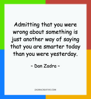 Admitting that you were wrong