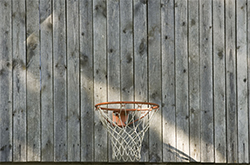 basketball hoop on barn